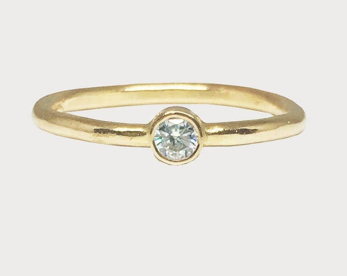 You Are My Wishing Star_ 14K Yellow Gold Bezel Set Solitaire Moissanite Engagement Ring