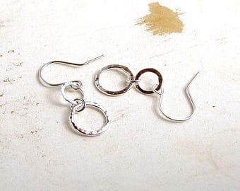 Silver Circle Earrings, Hammered Silver Jewellery, Simple Earrings, Minimalist Jewellery, Silver Drop Earrings, Metalsmith Earrings