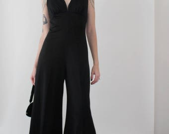 1970s Black Disco Jumpsuit | Vintage 70s Deep V Wide Leg Jumpsuit | Small S