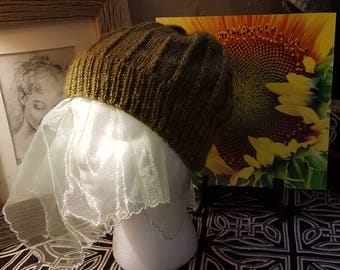 Hand Knit Olive Green Color Hat