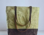 Spring Green Waxed Canvas Tote Bag with Leather Straps - Ready to Ship