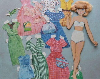 Vintage Gina Paper Doll with Real Hair and Clothes