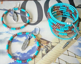 Set - Bracelet and Earring - Turquoise & brown seed beads - Feather charms - Wrap bracelet - Hoop Earrings - Boho Bohemian - bycat