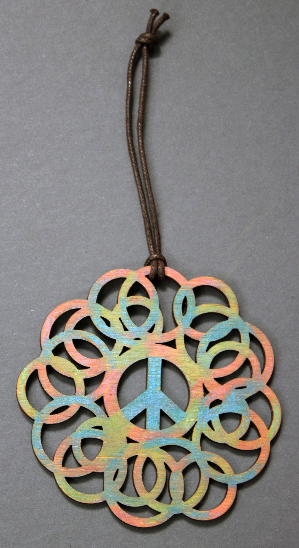 Peace Sign Bedroom Accessories: Yoga Bedroom Decor. Tie Dye Peace Sign Ornament. Yoga Studio
