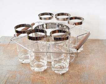 mid century cocktail set, vintage 60s silver rim glasses with ice bucket and drink caddy carrier, dororthy thorpe tumblers, 1960s barware