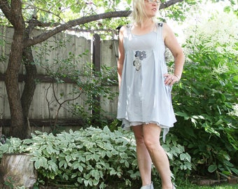 upcycled clothing, upcycled fashion, two piece pinafore dress . almost a whisper .  S -M