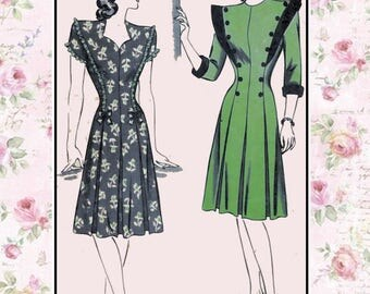Vintage 1940s-DARLING DRESS-Sewing pattern-Three Styles-Sweetheart Neckline-Ruffling-Inverted Pleats-Button Detail-Size 12-Rare