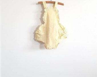 Vintage Yellow Ruffle Bottom Romper