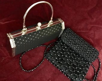 Black evening bag/ clutch Black beaded cross body bag, or gorgeous black and silver hard case clutch with crystal knob