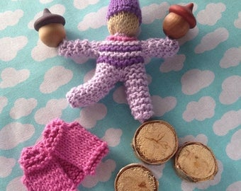Will You Be My Valentine Knitted Waldorf Gnome Doll