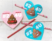 Funny Poop Valentines Classroom Number Two Pencil Holder valentines cute emoji heart valentine card Valentine's day pencil holders