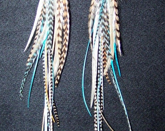 Festival Feather Earrings, 4th of July, Feather Extension, Black and White Grizzly, Feather Hair Extension, Turquoise Feather Earrings