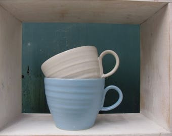 2x Teacup Shaped Mugs in White and Blue celadon glazes