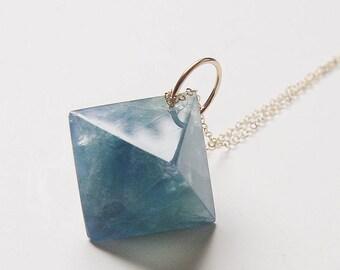 Blue Fluorite Pyramid Gold Necklace OOAK