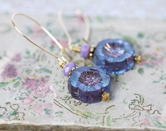 Blue Flower Earrings | Blue Earrings | Floral Jewelry | Gardener Gift for Mom | Dangle Earrings | Lightweight Earrings | Flower Lover Gift