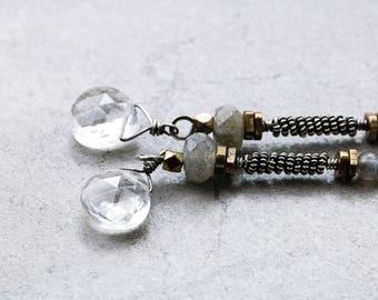 Gypsy Long Earrings | Gypsy Soul | Extra Long Earrings | Labradorite Earrings | Boho Rustic Earrings | Gemstone Jewelry | Dangle Earrings