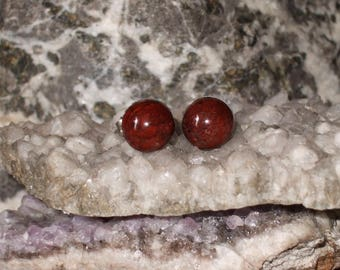 Ear Studs 8mm Poppy Jasper Titanium Posts and Clutches Hypo Allergenic Made in Newfoundland Relaxation