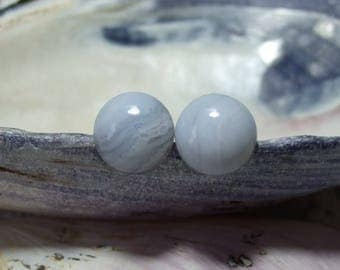 Blue Lace Agate Delicate Baby Blue 10mm Round Titanium Studs Hypo Allergenic Made in Newfoundland Chakra