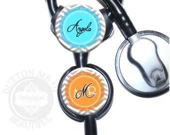 """1 1/2"""" Design Stethoscope ID Tag - Personalized Gray Chevron with Color Circle with Fringe Edge Nurse Littmann Identification (A377)"""