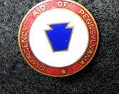 Vintage Enamel Pin, Emergency Aid Of Pennsylvania, Whitehead And Hoag