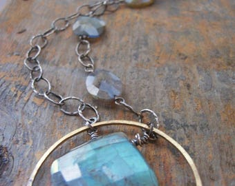 Asymmetrical Mixed Metal Labradorite Necklace, Large Labradorite Pendant, Organic Labradorite Statement Necklace, Unique Gift for Her