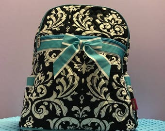 Personalized Damask Backpack With Turquoise Accents
