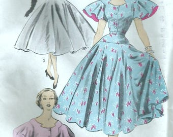 Vintage 50s Advance 6051 UNCUT Misses Rockabilly Full Circle Skirt Dress with Shaped Neckline, Sleeve Options Sewing Pattern Size 16 Bust 34
