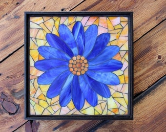 Stained Glass Mosaic - Blue Daisy - Flower - ON SALE!