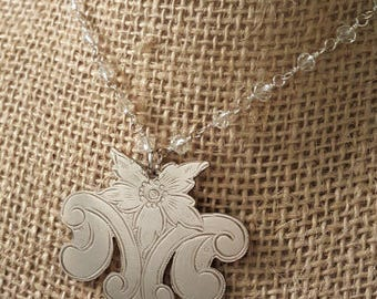 Vintage Silverplate Handmade M Pendant on Rosary Chain