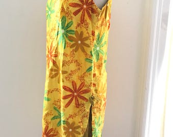 Vintage 60s Hawaii Dress Royal Hawaiian Floral Sleeveless Dress