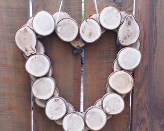 Salvaged Wood Wreath, Heart Wreath, Rustic Wood Decor, Hanging Wood Heart