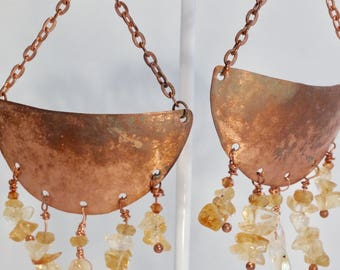 Moon over Rajasthan Dreams of India Hammered Copper and Citrine Nuggets Bold Elegant Statement Dangle Earrings