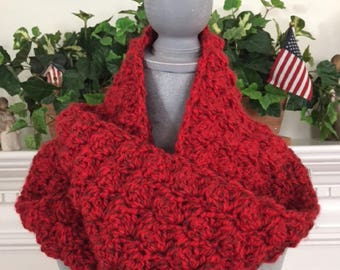 "crochet handmade bulky chunky yarn Infinity Cowl Scarf Soft cozy stylish comfy warm wide RED 7""x 68"" new"