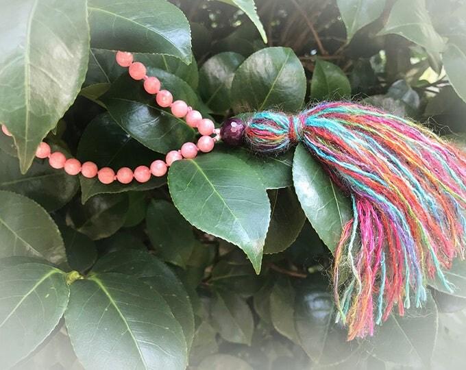 Pink Jade & Garnet Mala Necklace. 108 Beads. Multi-Color Tassel. Bohemian Necklace. Meditation Beads. Boho Jewelry. Yoga Jewelry.