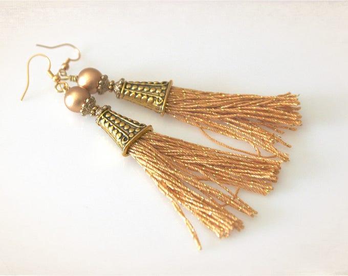 Gold Sparkle Tassel Earrings. Boho Bling Earrings. Stocking Stuffer