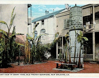Antique New Orleans Postcard - An Old French Quarter Courtyard (Unused)