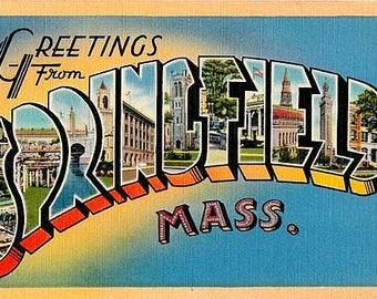 Vintage Massachusetts Postcard - Greetings from Springfield (Unused)
