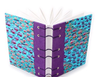 Fish Journal in Purple and Turquoise  - handmade by Ruth Bleakley