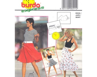 Circle Skirt Sewing Pattern Burda 4511 Flared Dance Skirt Women Size 8 to 18
