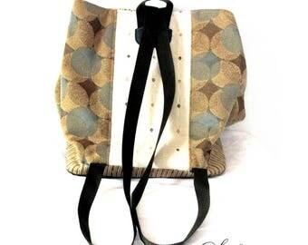 Scrap Fabric Diaper Bag | One of a Kind | Laptop Backpack | Blue, Gold, Green | Festival Bag | Day Bag | Trendy, Bohemian Tote | Handmade