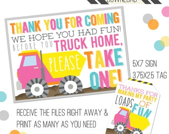 Construction Party Printables | Construction Favor Tags | Favor Sign | Favor Tags | Girly Truck Party | Dump Truck Tags | Girl Dump Truck