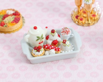 MTO-Cherry Themed French Pastry Teatime Set - Miniature Food in 12th Scale for Dollhouse