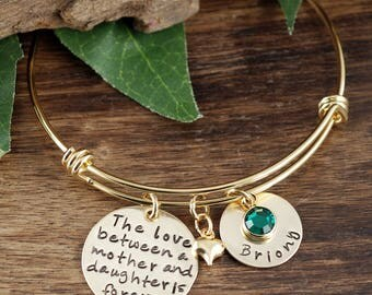 Personalized Bangle Bracelet, Mother Daughter Bracelet, Gold Bangle Charm Bracelet, Love between Mother and Daughter, Gift for Mom
