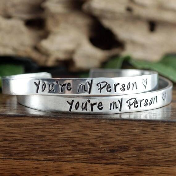 You're My Person Bracelet Set, Grey's Anatomy Quote,  BFF Jewelry Gift, You're My Person Jewelry, Best Friend Bracelet, Anniversary Gift
