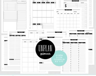 UNplan Planner Printables - PDF pages in LETTER size - daily docket, weekly docket, undated calendars - digital download