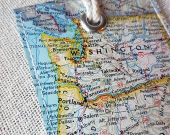 Washington & Oregon state luggage tag made with original vintage map