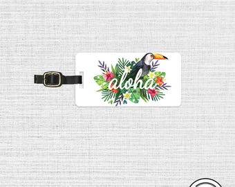 Luggage Tag Hawaii Luggage Tag Aloha Toucan Floral Metal Luggage Tag  With Printed Custom Info On Back - Single Tag