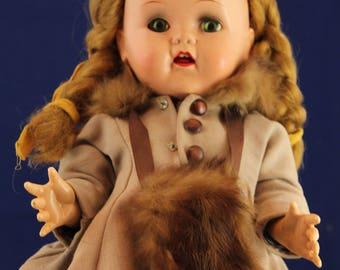 "Vintage 1950s 15"" IDEAL * SAUCY WALKER Doll * Makes Noise!"