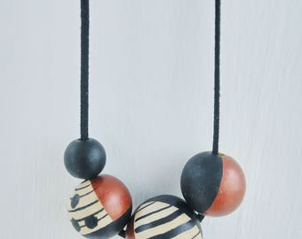 Hand painted Wooden Bead Necklace in Black and Bronze