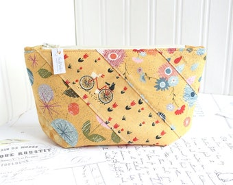 Cosmetic Bag Makeup Bag Yellow Patchwork Zipper Pouch Organizer
